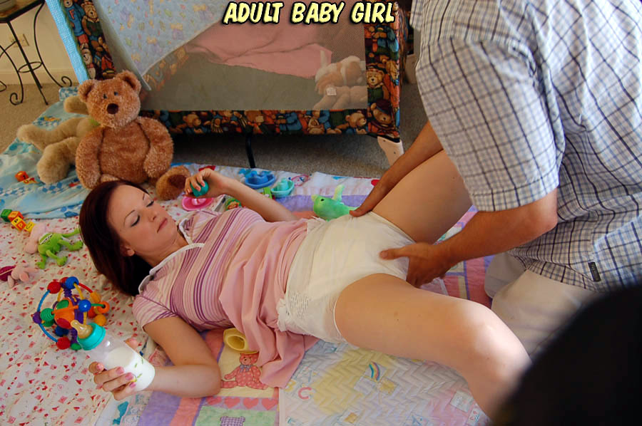 Change messy girl diaper adult